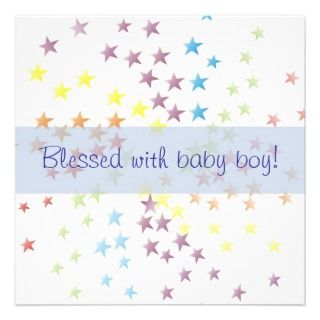 Rainbow Stars Baby Boy Birth Announcement