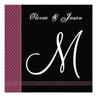 Maroon & Black Monogram Wedding Invitation Checks