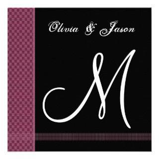 Maroon & Black Monogram Wedding Invitation Checks