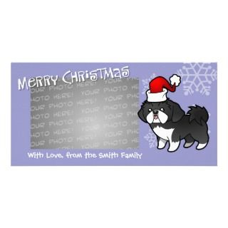 Christmas Shih Tzu (black and white puppy cut) Custom Photo Card