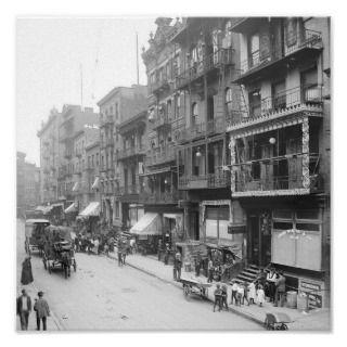 Mott St., New York City. Great old street scene in an ethnic