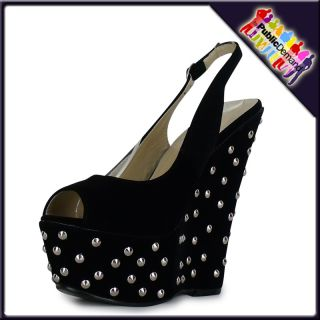 ByPublicDemand   W53 WOMENS LADIES HIGH HEEL WEDGES STUDDED PARTY