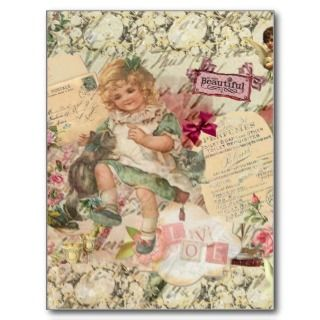 Vintage cute chic Victorian girl cat & pink floral Postcard