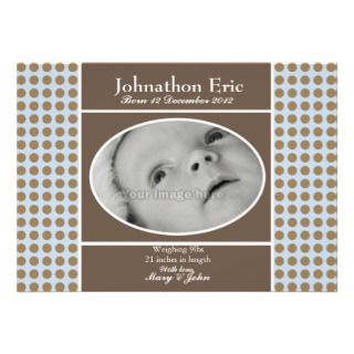 Blue and Brown Baby Boy Birth Announcement