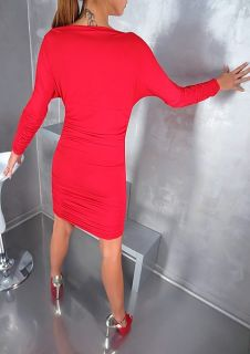 MODA ITALIA NEU 2013 DAMEN LUXUS SEXY RED LADY STRETCH TOP DRESS KLEID