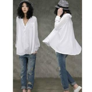 New Korean Stylish Soft Fashion Doll Type Loose Big White Long Sleeve