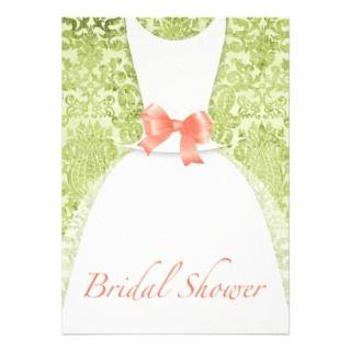 Wedding Dress Bridal Shower Peach And Moss Damask Custom Announcement