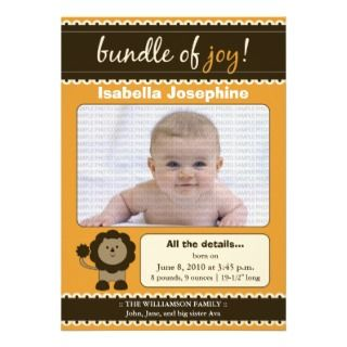 Lion Designer Baby Birth Announcement  tangerine