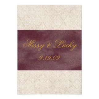 Ivory Lace   Plum Ribbon Invitation/Announcement