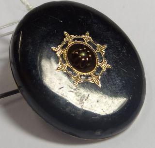 Brosche bzw. Anhänger, Onyx mit Perlchen, Nadelhaken (198/5167