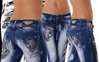 Neu Crazy Age Damen Jeans Hüft Hose Gr. 34 36 38 40 42 Pink Rose