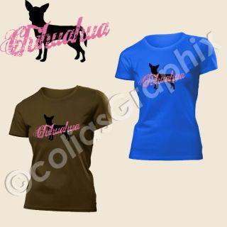 Chihuahua Hund Vintage Schriftzug Damen T Shirt Art193
