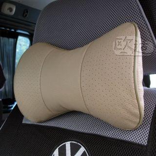 2pc Cow Leather Auto Car Neck Rest Cushion Headrest Pillow Mat Pad