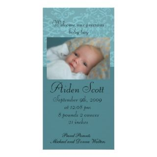 Baby Boy Birth Announcement Picture Card