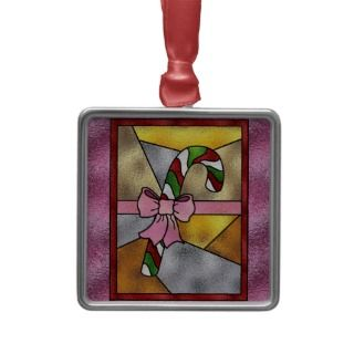 Stain Glass Candy Cane Christmas Tree Ornament