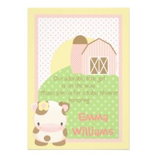 Diddles Farm Moo Cow Baby Shower Invitation