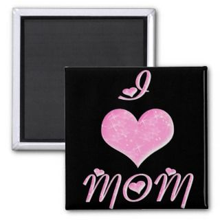 Love Mom Pretty Heart Design Refrigerator Magnet