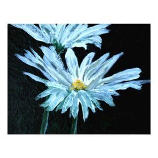 of white daisy flowers modern art custom announcement