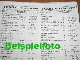 Fendt Farmer 204 P + PA Technisches Datenblatt 1987