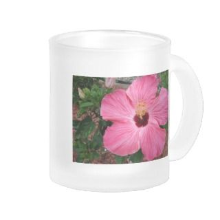 Pink Hibiscus Flower Floral Frosted Coffee Mug Cup