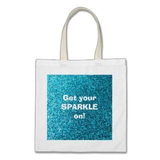 Faux Blue Glitter Tote Bag