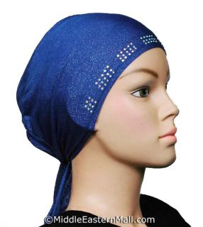 Hat cap under scarf Tie back hijab rhinestone NEW Shimmer Lycra