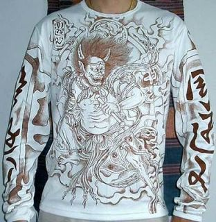 RAIJIN Japan THUNDER GOD Tattoo Shirt LONG SLEEVE L Brn