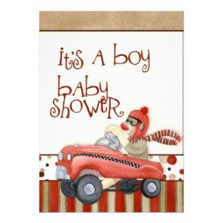 Sock Monkey Pedal Car, Boy Baby Shower Invitation