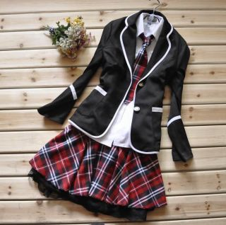 Japanese School Girl Uniform Red Tartan Dress Black Costume Surcoat
