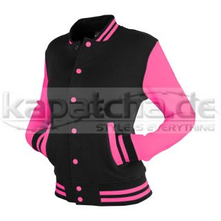 Urban Classics Ladies 2 tone College Sweatjacket Black Fuchsia TB218