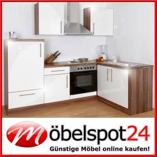 Einbauküche Küche Küchenzeile Küchenblock Hochglanz Blanca mit E
