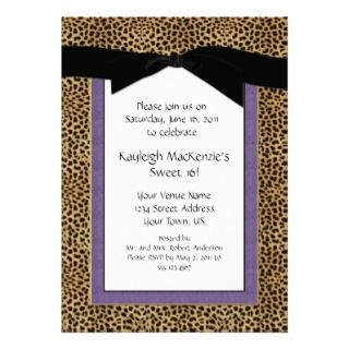 Leopard Print and Purple Sweet 16 Invitation