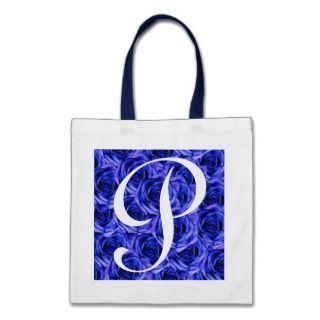 Monogram Blue Roses ToteBag Letter P