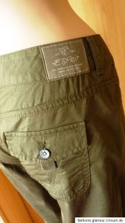 ESPRiT CARGO CAPRI TURN UP HOSE 34/36/40/44 KHAKI *NEU*