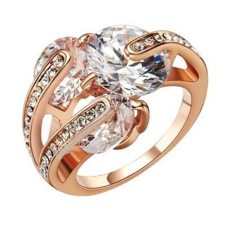 18K rose GOLD GP Swarovski crystal cz Engagement wedding ring R247