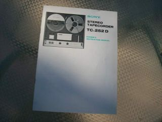 ORIGINAL SONY TC 252D TAPECORDER OWNERS MANUAL lot#289