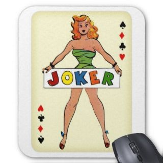 Retro Vintage Kitsch Pin Up Joker Playing Card Mouse Pad