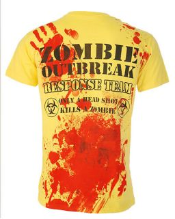 Darkside Zombie Response Team Yellow T Shirt Top Punk Rock Gothic