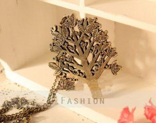 Halskette Baum Anhänger Retro Gravur Damen Lange Kette necklace NEU