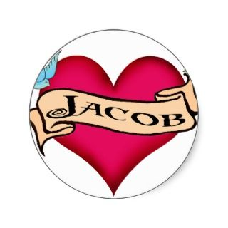 Jacob   Custom Heart Tattoo T shirts & Gifts Round Sticker