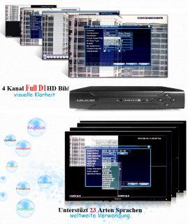 FULL D1 HD H.264 DVR 4 KANAL CH AUFZEICHNUNGSGERÄT VIDEOÜBERWACHUNG