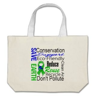 Save Earth Environment Awareness Collage Canvas Bags