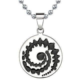Revoni Herren Anhänger Titanium Emaille auf Edelstahl Kugelkette