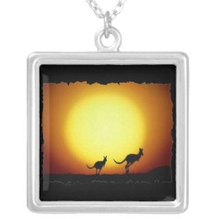 Kangaroos against the desert sun necklaces