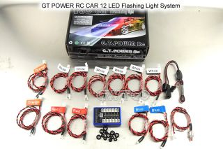 12 LED 1/ 10 RC beleuchtung CAR TRUCK BUGGY LED lighting Kit FLASHING