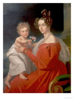 Archduchess Sophia of Austria (1805 72) with Her Two Year Old Son Franz Joseph (1830 1916) Giclee Print by J. K. Stiegler