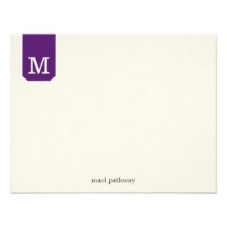 Purple Tab Monogram Design Flat Note Cards Invite