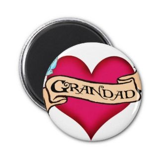 Grandad   Custom Heart Tattoo T shirts & Gifts Fridge Magnet