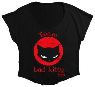 Juniors Emily The Strange   Bad Kitty (Oversized Dolman Tee) T Shirt
