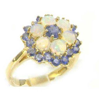 Cluster Luxus Damen Ring solide 9 Karat Gold Gelbgold Feurige Opal